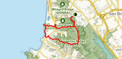 Mori Point and Sweeney Ridge Loop Trail via Skyline College Map
