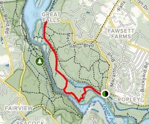 Billy Goat Trail to Great Falls Observation Platform Map