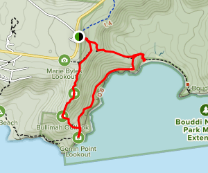 Gerrin Point Lookout and Bullimah Outlook Map