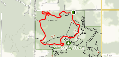 Midland City Forest North Bike Loop Map