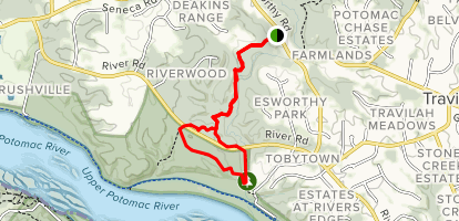 Muddy Branch Greenway: Elsworthy Road to River Road Map
