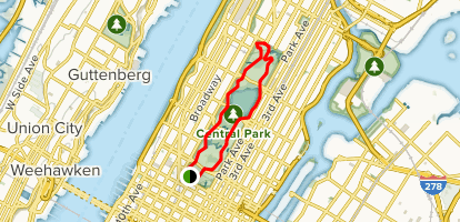Central Park: East and West Drive Loop Map