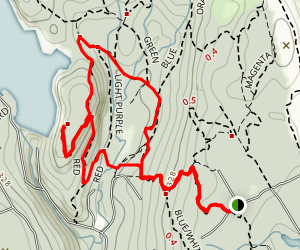Blue and White Trail to Pop Mountain to Red Trail Loop Map