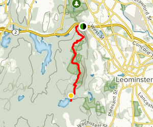 Monoosnoc Ridge Trail from West St Leominster to Haynes Reservoir  Map