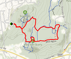 Quarry Lookout via White, Red, Green and Blue Trail Loop Map
