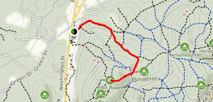 Wolcott Path to Eliot Tower Map