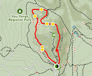 Flinders Peak Loop via West and East Track Map