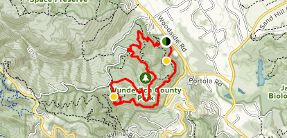Alambique, Meadow, Redwood and Bear Gulch Trail Loop Map