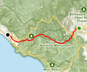 Dipsea Trail from Mill Valley Trailhead Map