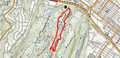 Mesa, Greenlee and Red Rock Canyon Path Loop Map
