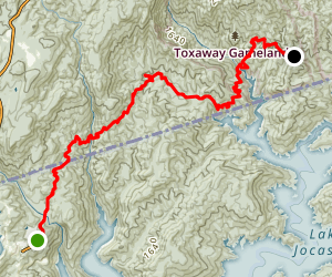 Foothills Trail: Bad Creek A7 to Bear Gap Map