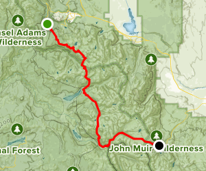 John Muir Trail from Reds Meadow to Piute Pass Map