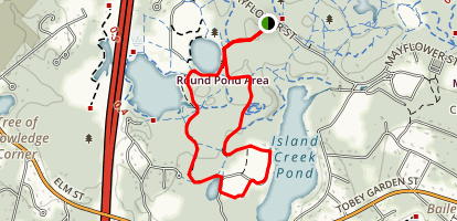Round Pond to Island Creek Pond Loop Map