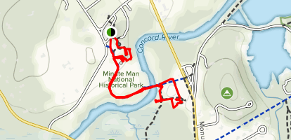 Minute Man Park, the Old Bridge, and the Manse Map