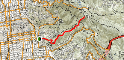 Strawberry Creek Fire Trails via Dwight Way Map
