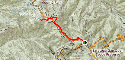 Turtle Rock via Saratoga Gap Trail Map