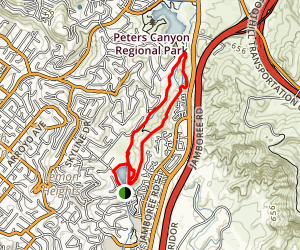 Peters Canyon and East Ridge View Trail Loop Map