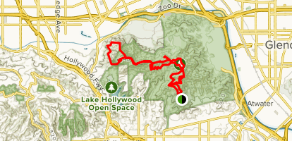 Griffith Park Observatory to Hollywood Sign to Cahuenga Peak to Wisdom Tree Around Loop and Back Map