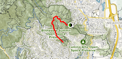 Mayor's Lookout via Corte Madera and Blithedale Ridge Forest Roads Map