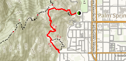 Palm Springs Museum Trail to North Lykken Trail Map