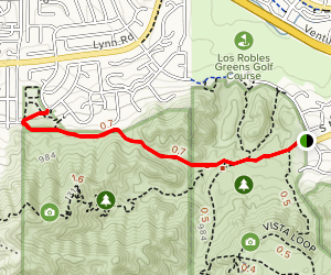 Los Robles and Spring Canyon Trail Map