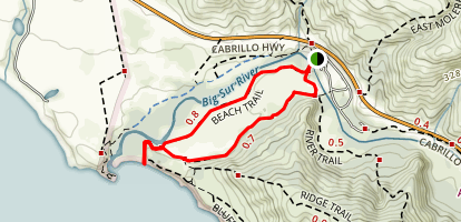 Andrew Molera Beach Trail to Creamery Meadows Trail Map