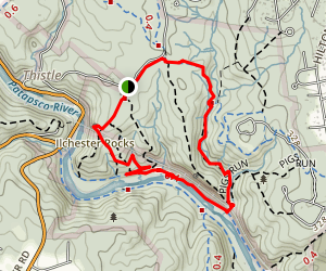Hill Top, Grist Mill, and Sawmill Branch Loop Map