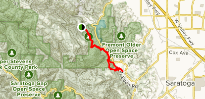 Zinfandel Trail, Canyon Trail, and Mount Eden Trail Map