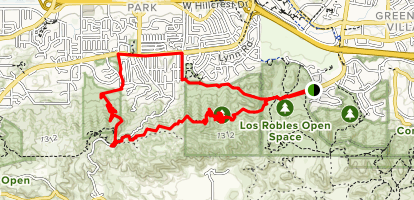 Los Robles, Rosewood and Spring Canyon Trail Loop Map