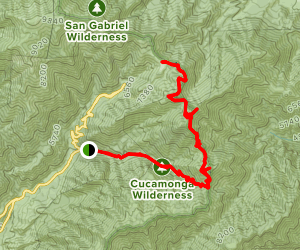 Mount Baldy Notch Via Icehouse Canyon Trail and 3 Ts Map
