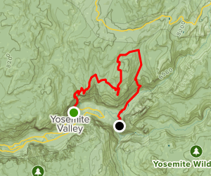 Upper Yosemite Falls, North Dome, Indian Rock, Snow Creek Map