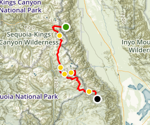 Onion Valley to Horseshoe Meadows  Map