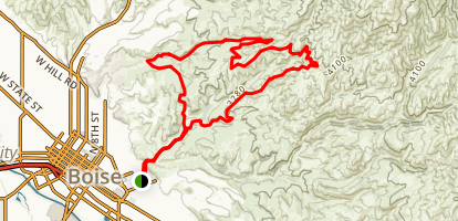 Mountain Cove, Freestone, Fat Tire, Sidewinder, Hulls Gulch, Kestrel, Military Connector Loop Map