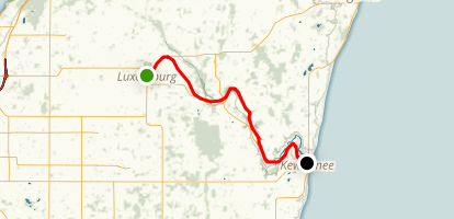 Ahnappe State Trail: Luxemburg to Kewaunee Map