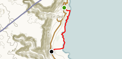 Dead Sea Coast hike to Hamei Ein Gedi Map
