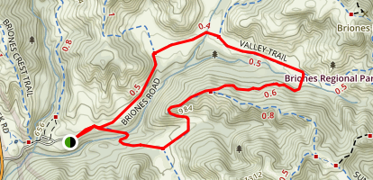 Briones Road to Valley Trail to Crescent Ridge and Seaborg Trail Map