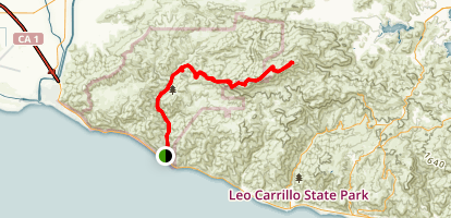 Sycamore Canyon to Sandstone Peak Map