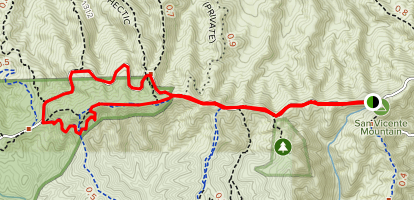 San Vicente Mountain to Farmer Ridge Fire Road Loop Map