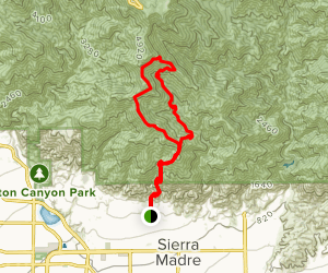 Bailey Canyon Trail to Mount Wilson Road and Trail Loop Map