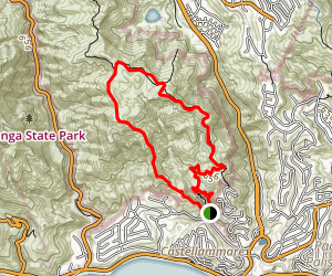 Parker Mesa Overlook Trail to East Topanga Fire Road Map