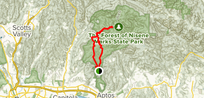 Loma Prieta Grade and Big Stump Gap to Sand Point Overlook and West Ridge Trail Map