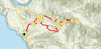 Pomo Canyon Trail Red Hill Trail Loop from Shell Beach Map