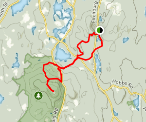 Wolf Rock Trail to Crow Hill to Redemption Rock to Wachusett Pop Map