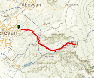 Yerevan - Garni – Geghard - Yerevan: Cycling trail Map
