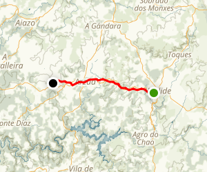 Camino Day 32: Santa Maria to A Calzada Map