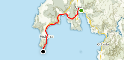 Camino Day 37: Os Caminos Chans to Fisterra  Map