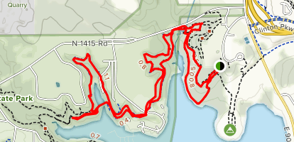 Clinton Lake North Shore Blue and White Loop Trail Map