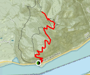 Dog Mountain Out and Back Route  Map