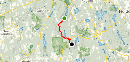 Midstate Trail: East Hill Road, Rutland to 4H Camp, Spencer Map