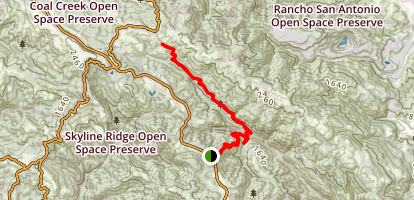 Grizzly Flat Trail and Canyon Trail to Monte Bello Open Space Map